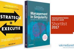 Management in Singularity en Strategie = Executie op shortlist Managementboek van het Jaar